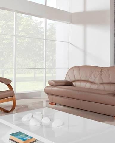 Galicja kožená sedacia súprava s úložným priestorom drevo D3