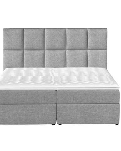 Grosio 185 čalúnená manželská posteľ s úložným priestorom svetlosivá