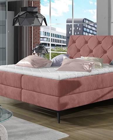 Lazio 160 čalúnená manželská posteľ s úložným priestorom ružová (Kronos 29)
