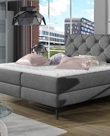 Lazio 160 čalúnená manželská posteľ s úložným priestorom sivá