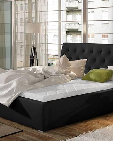 Monzo UP 140 čalúnená manželská posteľ s roštom čierna