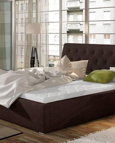 Monzo UP 200 čalúnená manželská posteľ s roštom tmavohnedá (Sawana 26)