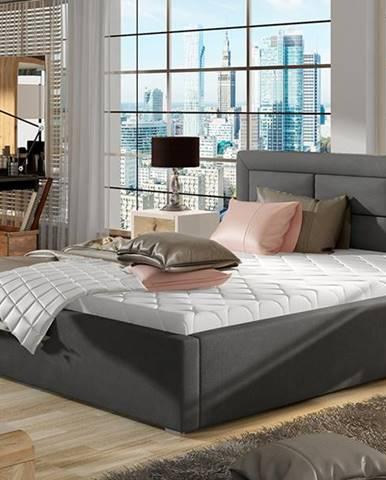 Rovigo UP 140 čalúnená manželská posteľ s roštom tmavosivá