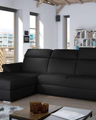 Tarragon L rohová sedačka s rozkladom a úložným priestorom čierna