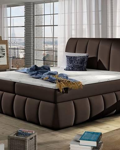 Vareso 140 čalúnená manželská posteľ s úložným priestorom tmavohnedá (Soft 66)