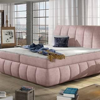 Vareso 140 čalúnená manželská posteľ s úložným priestorom ružová