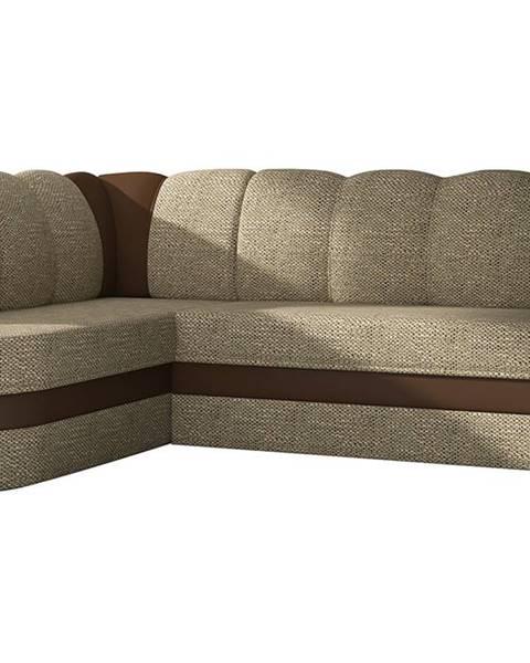 NABBI Belluno L rohová sedačka s rozkladom a úložným priestorom cappuccino