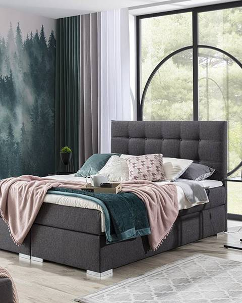 NABBI Isola 160 čalúnená manželská posteľ tmavosivá