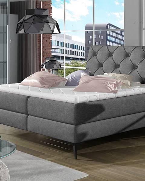 NABBI Lazio 140 čalúnená manželská posteľ s úložným priestorom sivá