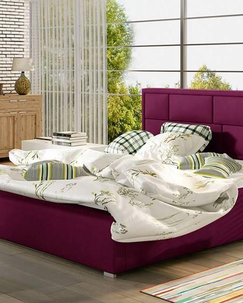 NABBI Liza UP 160 čalúnená manželská posteľ s roštom vínová