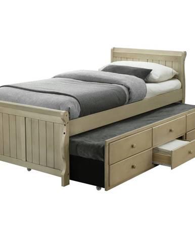 Antiko jednolôžková posteľ s prístelkou antická biela