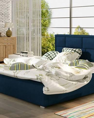 Liza UP 160 čalúnená manželská posteľ s roštom tmavomodrá