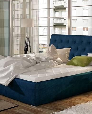 Monzo 140 čalúnená manželská posteľ s roštom tmavomodrá