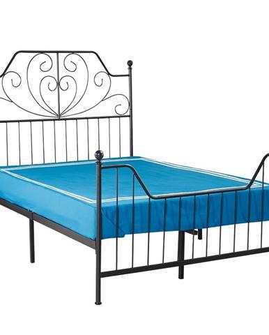Rajana kovová manželská posteľ s roštom čierna