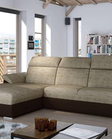 Tarragon L rohová sedačka s rozkladom a úložným priestorom cappuccino