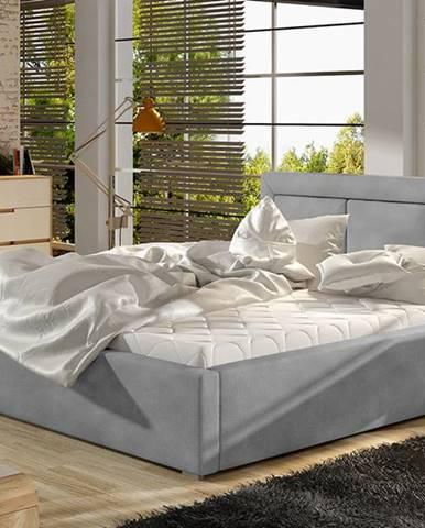 Branco 200 čalúnená manželská posteľ s roštom svetlosivá (Paros 05)