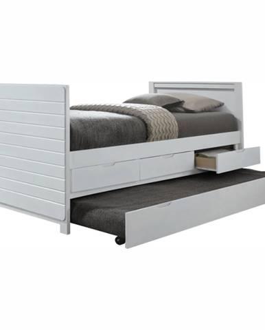Emira jednolôžková posteľ s prístelkou biela