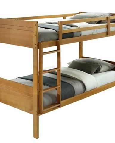Makira 90 drevená poschodová posteľ s roštami dub