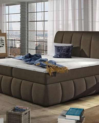 Vareso 180 čalúnená manželská posteľ s úložným priestorom hnedá (Orinoco 29)