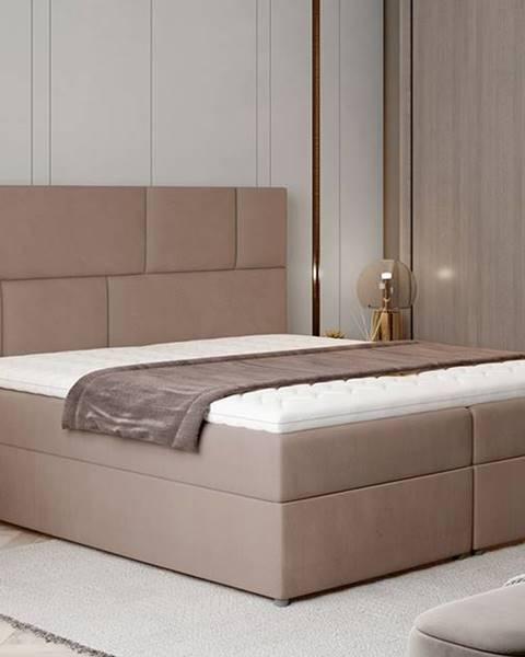 NABBI Ferine 185 čalúnená manželská posteľ s úložným priestorom hnedá