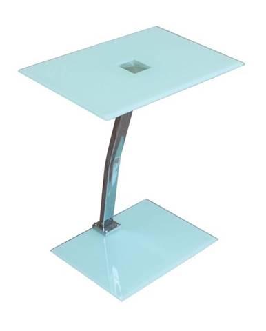 Pelok sklenený príručný stolík biela