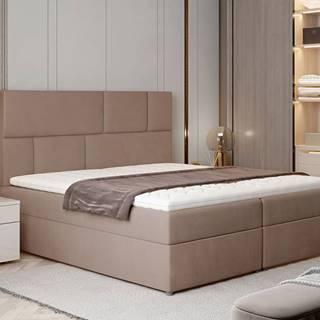 Ferine 185 čalúnená manželská posteľ s úložným priestorom hnedá