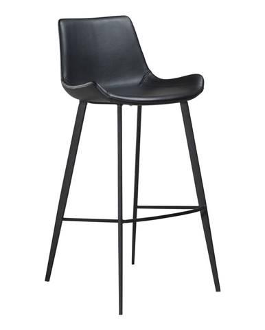 Čierna barová stolička z eko kože DAN–FORM Denmark Hype, výška 103 cm