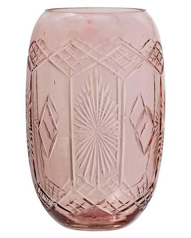 Ružová sklenená váza Bloomingville Ornaments