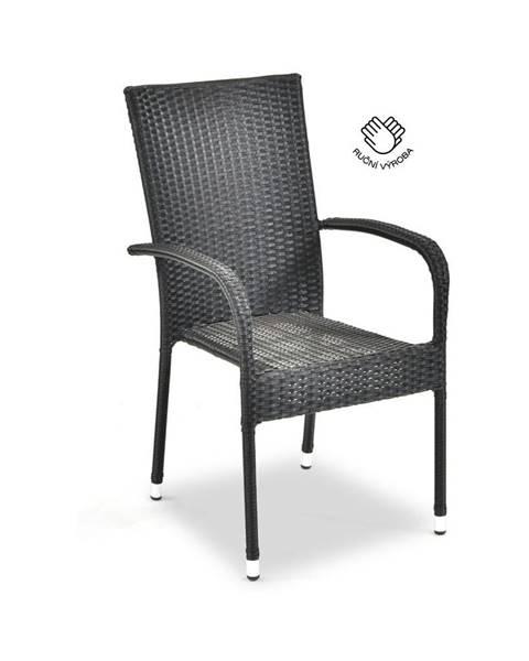Le Bonom Čierna záhradná stolička z umelého ratanu Le Bonom Paris, výška 95 cm