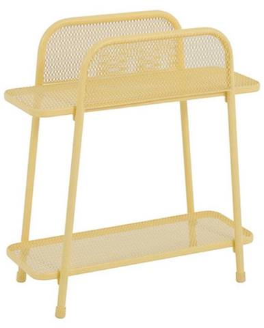 Žltý kovový odkladací stolík na balkón ADDU MWH, výška 70 cm