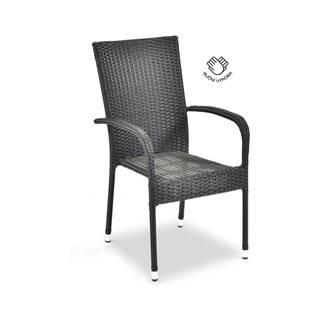 Čierna záhradná stolička z umelého ratanu Le Bonom Paris, výška 95 cm