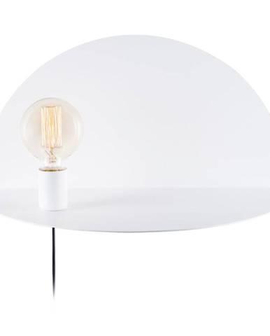 Biela nástenná lampa s poličkou Shelfie Cecile