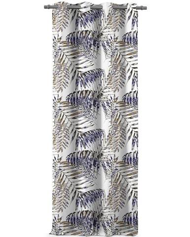 AmeliaHome Záves Blackout Palm Leaves modrá, 140 x 245 cm