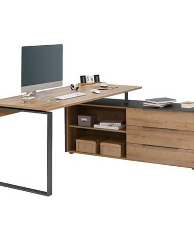 Písací stôl RYDER dub riviera/antracitová
