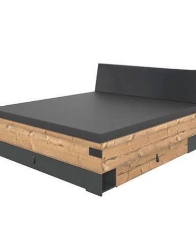 Posteľ ALYSSA strieborná jedľa/grafit, 180x200 cm