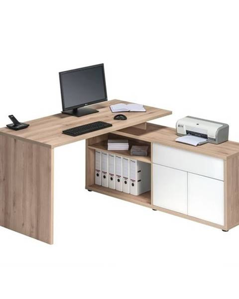 Sconto Rohový písací stôl ARLO buk/biela
