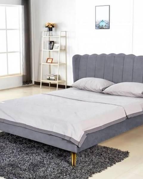 OKAY nábytok Čalúnená posteľ Florence 160x200, sivá, vrátane roštu