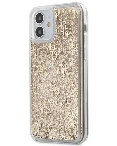 Kryt na mobil Guess 4G Liquid Glitter na Apple iPhone 12 mini zlatý