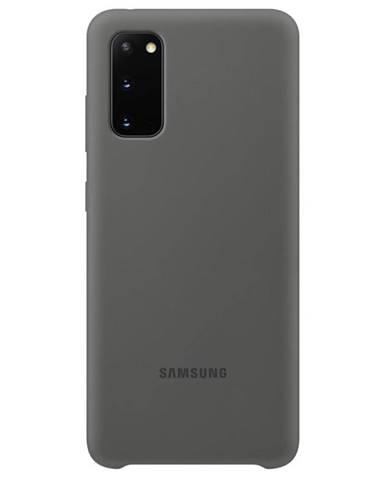 Kryt na mobil Samsung Silicon Cover na Galaxy S20 sivý