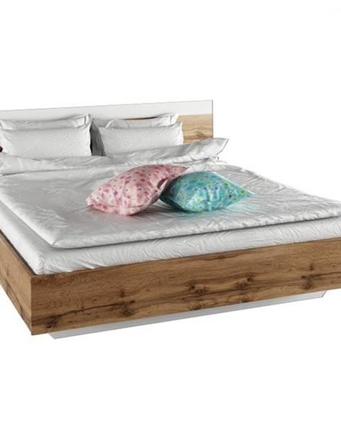 Tempo Kondela Manželská posteľ 160x200 dub wotan/biela GABRIELA