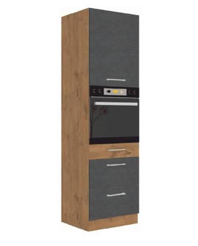 Vysoká skrinka dub lancelot/sivá matná VEGA 60 DPS-210 3S 1F