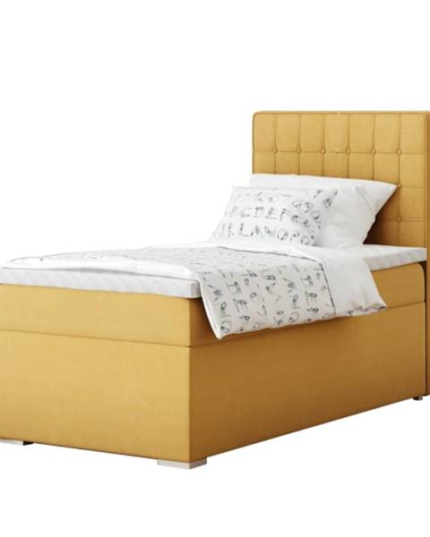 Tempo Kondela Boxspringová posteľ jednolôžko horčicová 80x200 pravá TERY