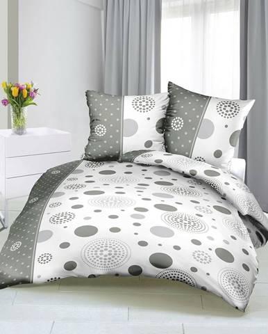 Bellatex Saténové obliečky Lúče sivá, 140 x 200 cm, 70 x 90 cm