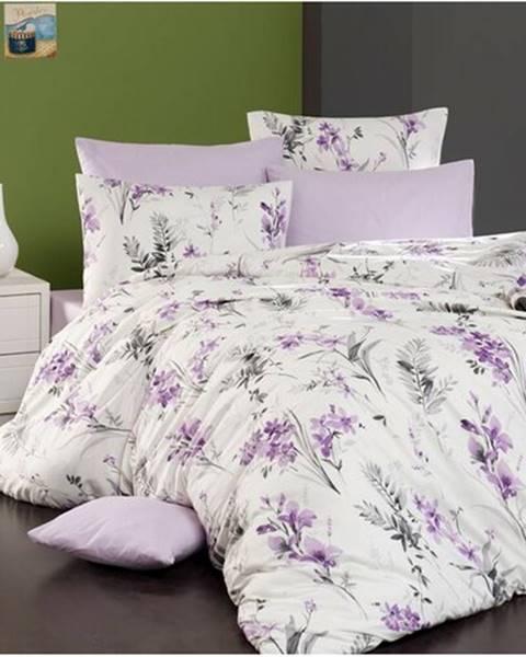 BedTex BedTex Bavlnené obliečky Nesta smotanová, fialová, 140 x 200 cm, 70 x 90 cm
