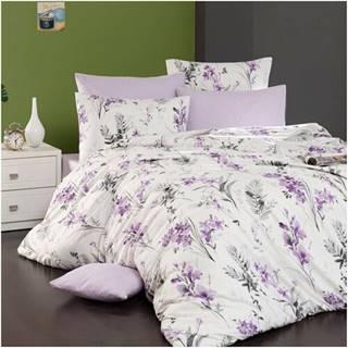 BedTex Bavlnené obliečky Nesta smotanová, fialová, 140 x 200 cm, 70 x 90 cm