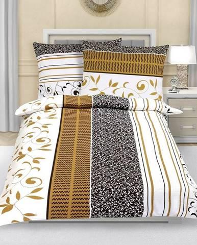 Bellatex Flanelové obliečky Lístky hnedá, 140 x 220 cm, 70 x 90 cm