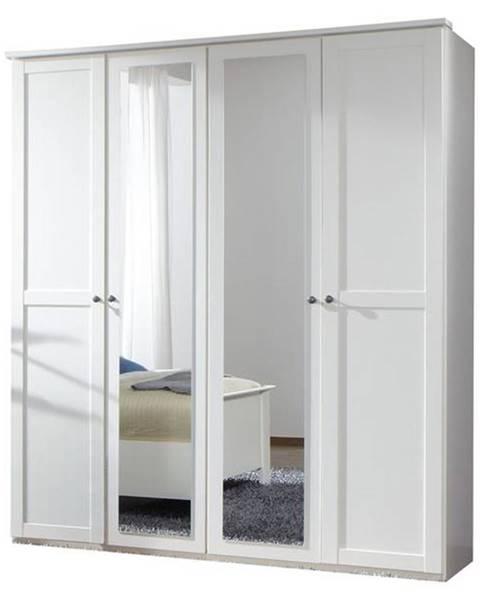 Sconto Šatníková skriňa CHASE biela, 180 cm, 2 zrkadlá