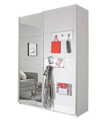 Šatníková skriňa SHEA alpská biela, 2 dvere, 1 zrkadlo