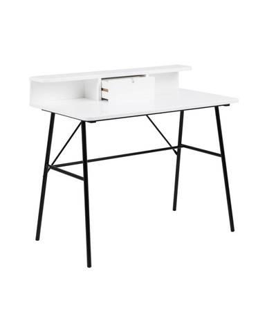 Biely drevený pracovný stôl Actona Pascal
