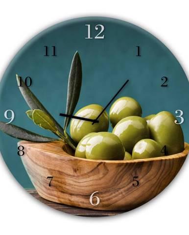 Nástenné hodiny Styler Glassclock Olives, ⌀ 30 cm